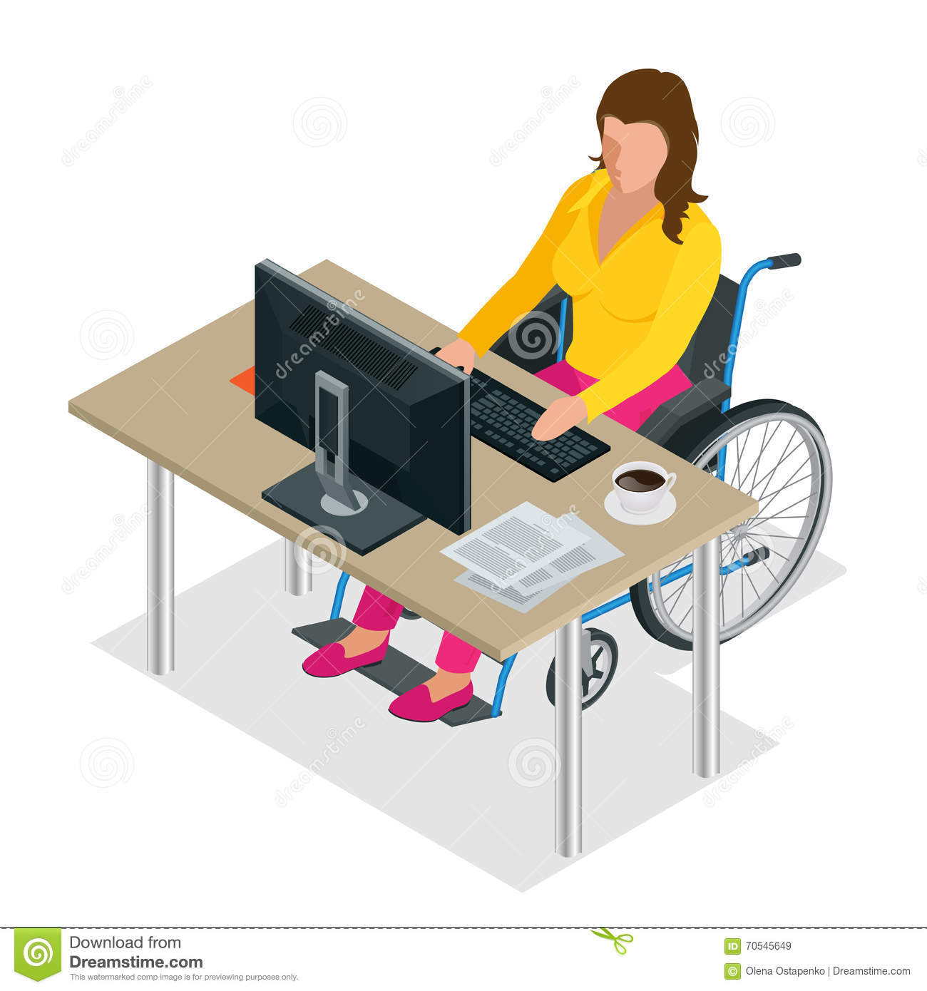 Handicapped woman in wheelchair in a office working on a for Sedia a rotelle cartoon
