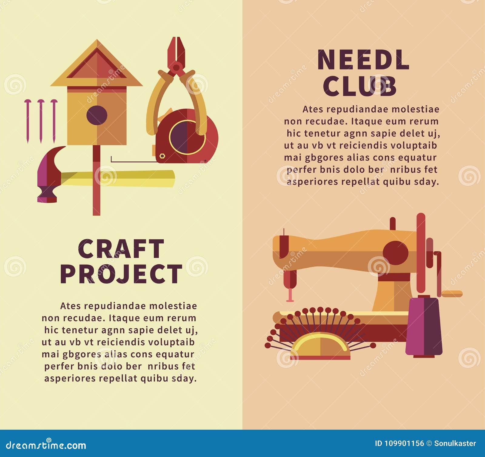 Creative Art And Handicraft Workshop Vector Flat Poster Of Woodwork
