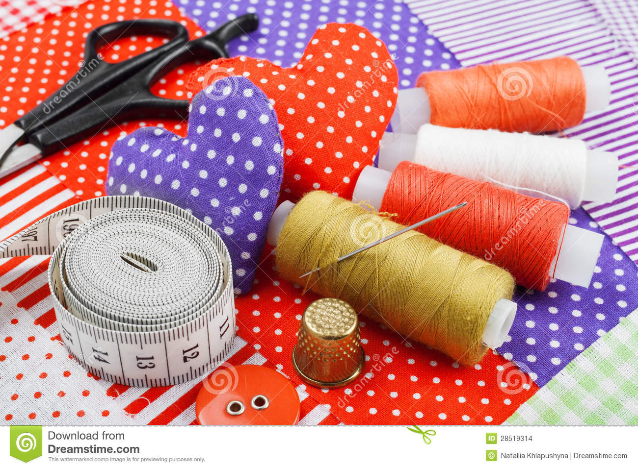 Handicraft Hearts, Fabric Materials And Items For Sewing Stock Images ...