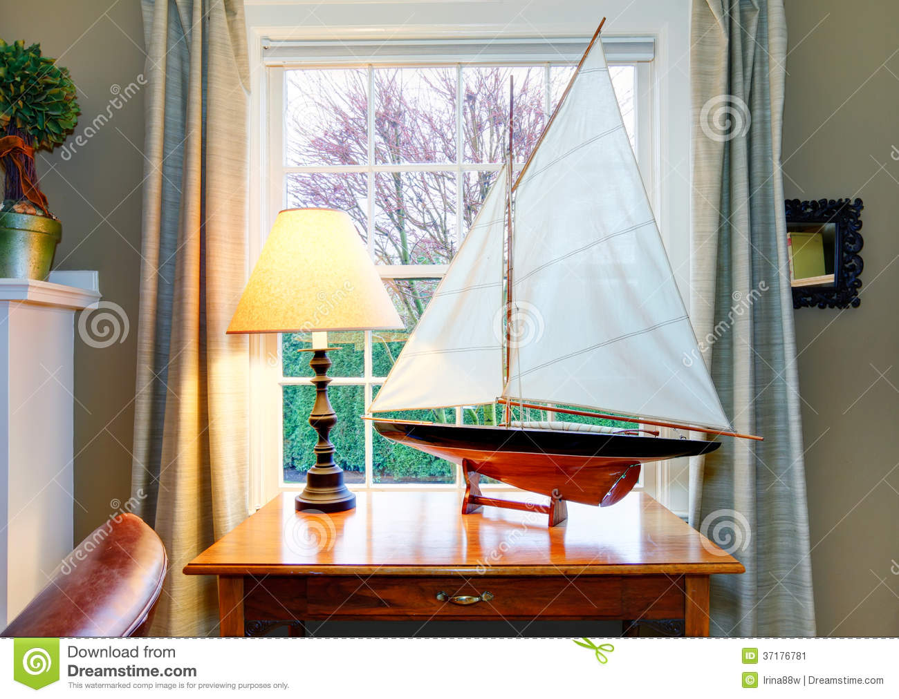 Handicraft Sailboat Great Decor Idea For Classic Living Room D Stock Image Image Of Furniture Decoration 37176781