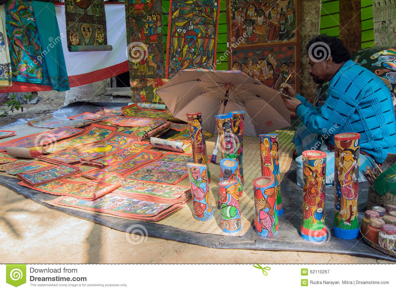 Handicrafts Are Being Prepared For Sale In Pingla Village West