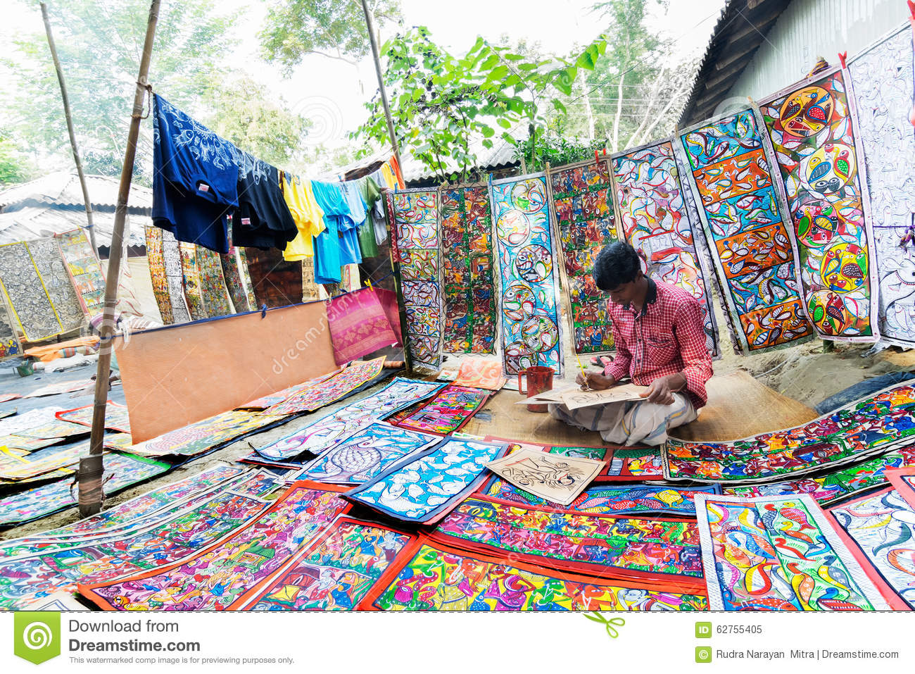 Handicrafts Are Perpared For Sale By Rural Indian Man Editorial