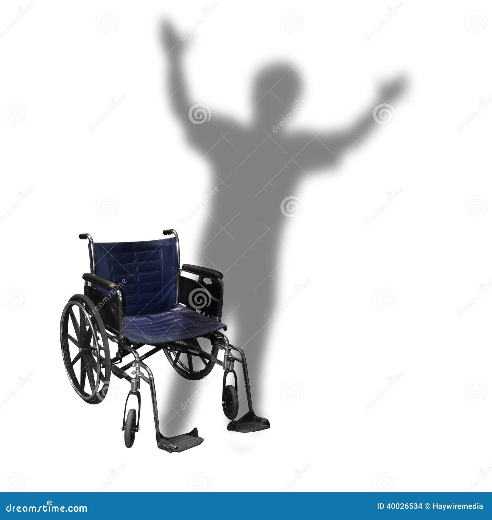 Handikap-Rollstuhl-Schatten-Mann-Gehen