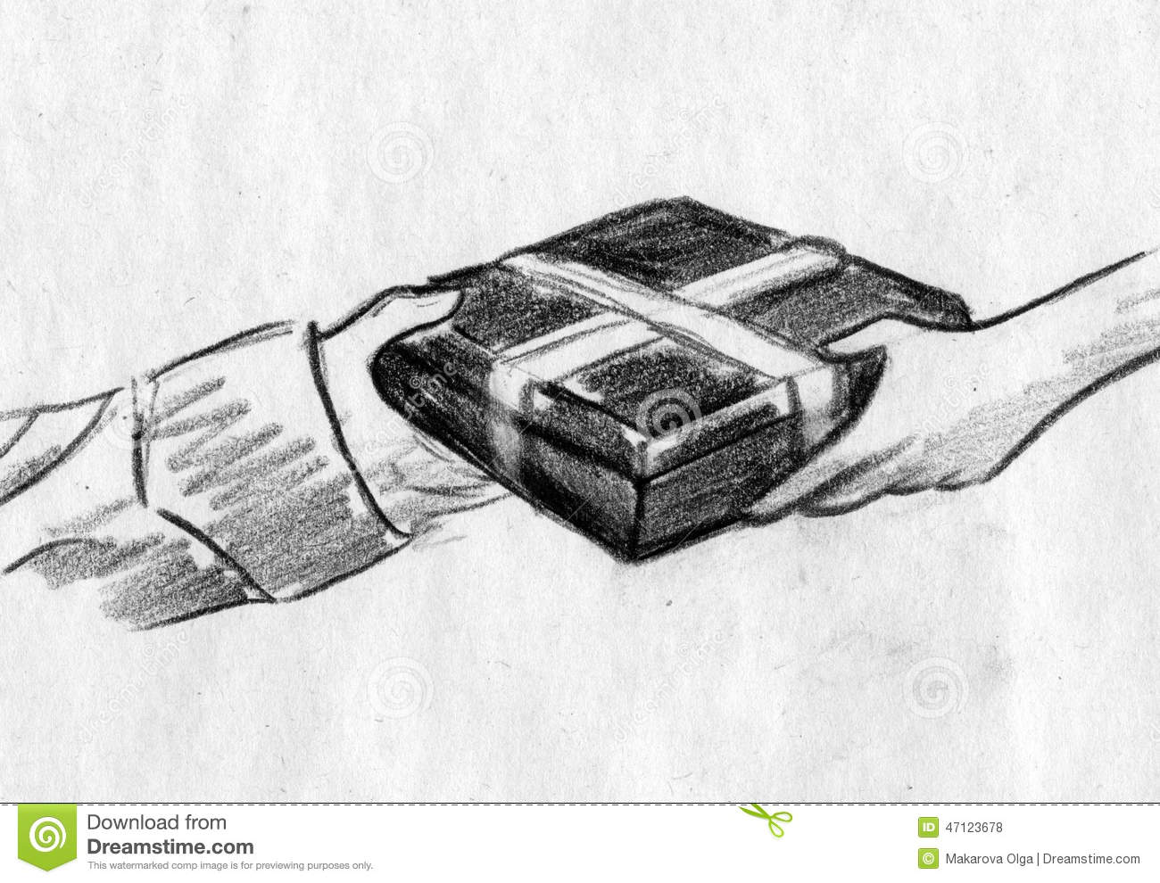 Illustration handing a gift in a box