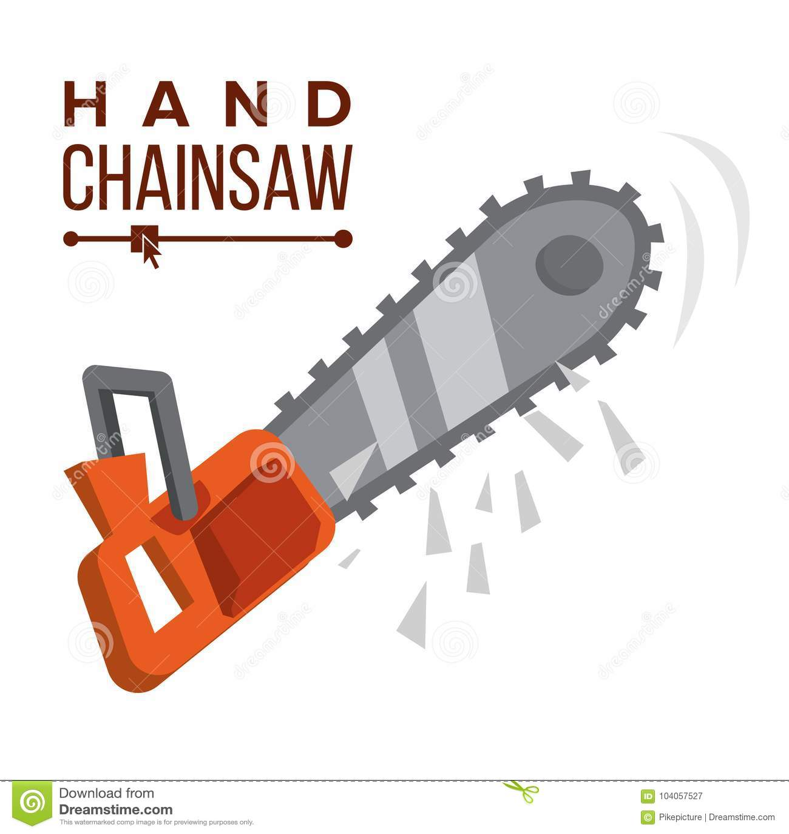 Handkettensägen-Vektor Treibstoffkettensäge Berufsinstrument, Arbeitsgerät Flache Karikaturillustration
