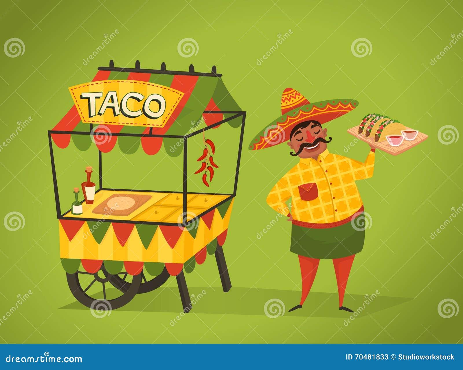 Handlarz sprzedaje tacos na ulicie Meksykański jedzenie