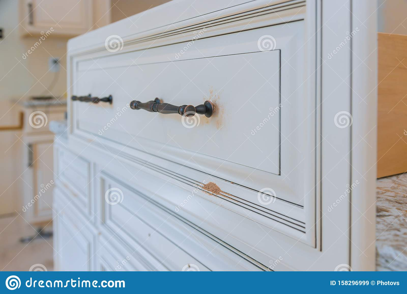 Handle Installation Drawers In Kitchen Cabinet Stock Image Image