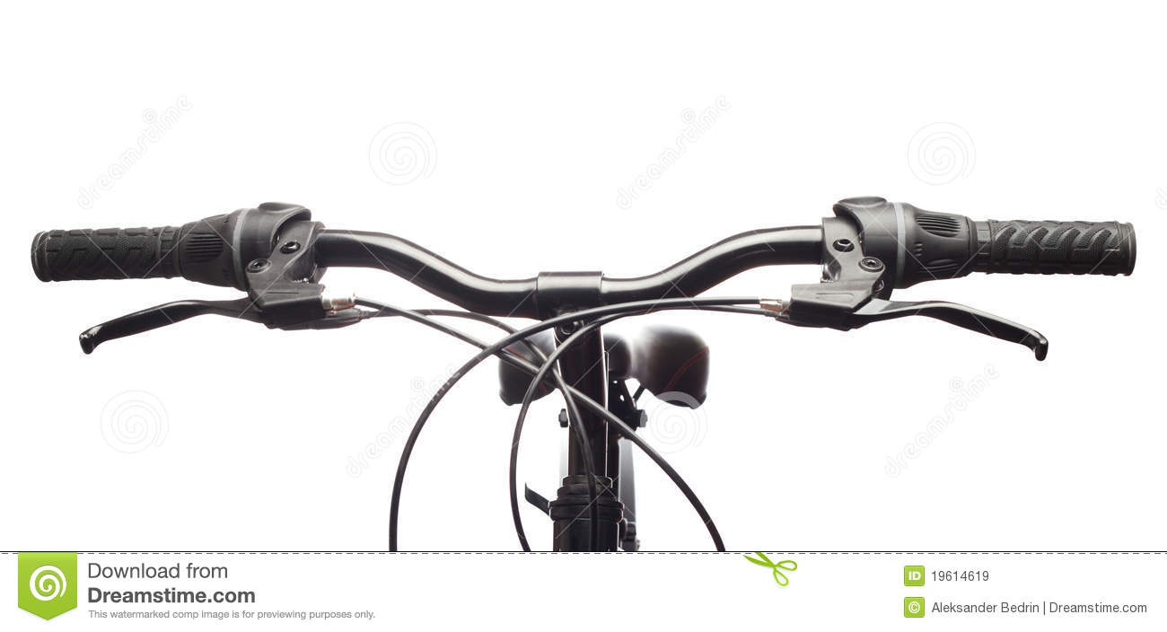 Handlebars Of A Mountain Bicycle Isolated Royalty Free