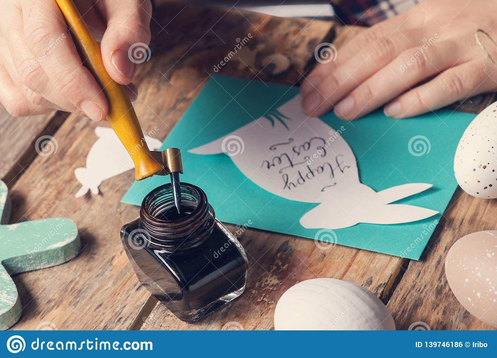 Handlettering Happy Easter Sign Stock Photo Image Of Cute Holding