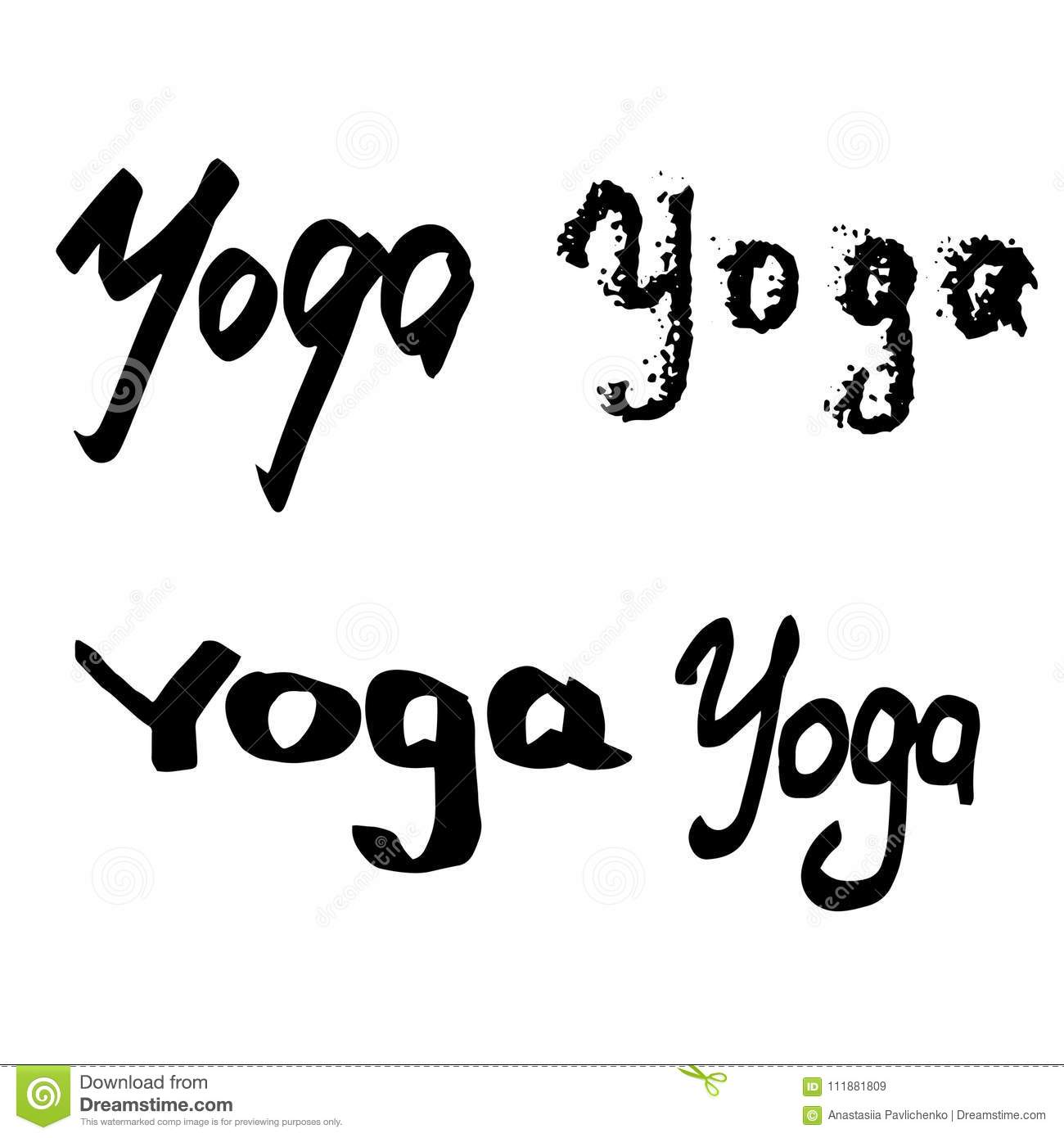 Handlettering Yoga Whith Different Styles Stock Vector