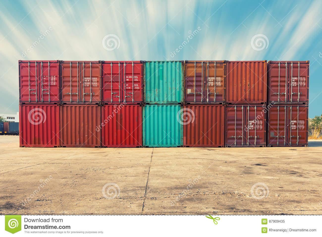 Handling Stack Of Container Shipping Transportation Business