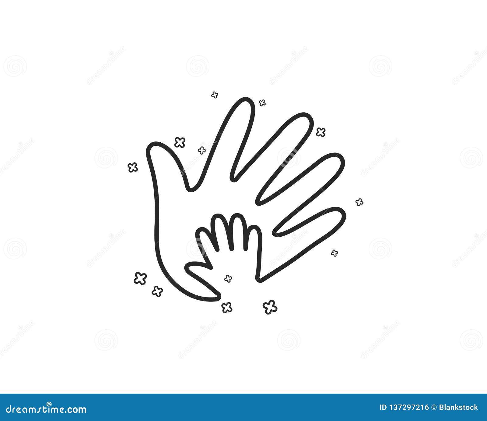 Handlinje symbol Tecken för socialt ansvar vektor