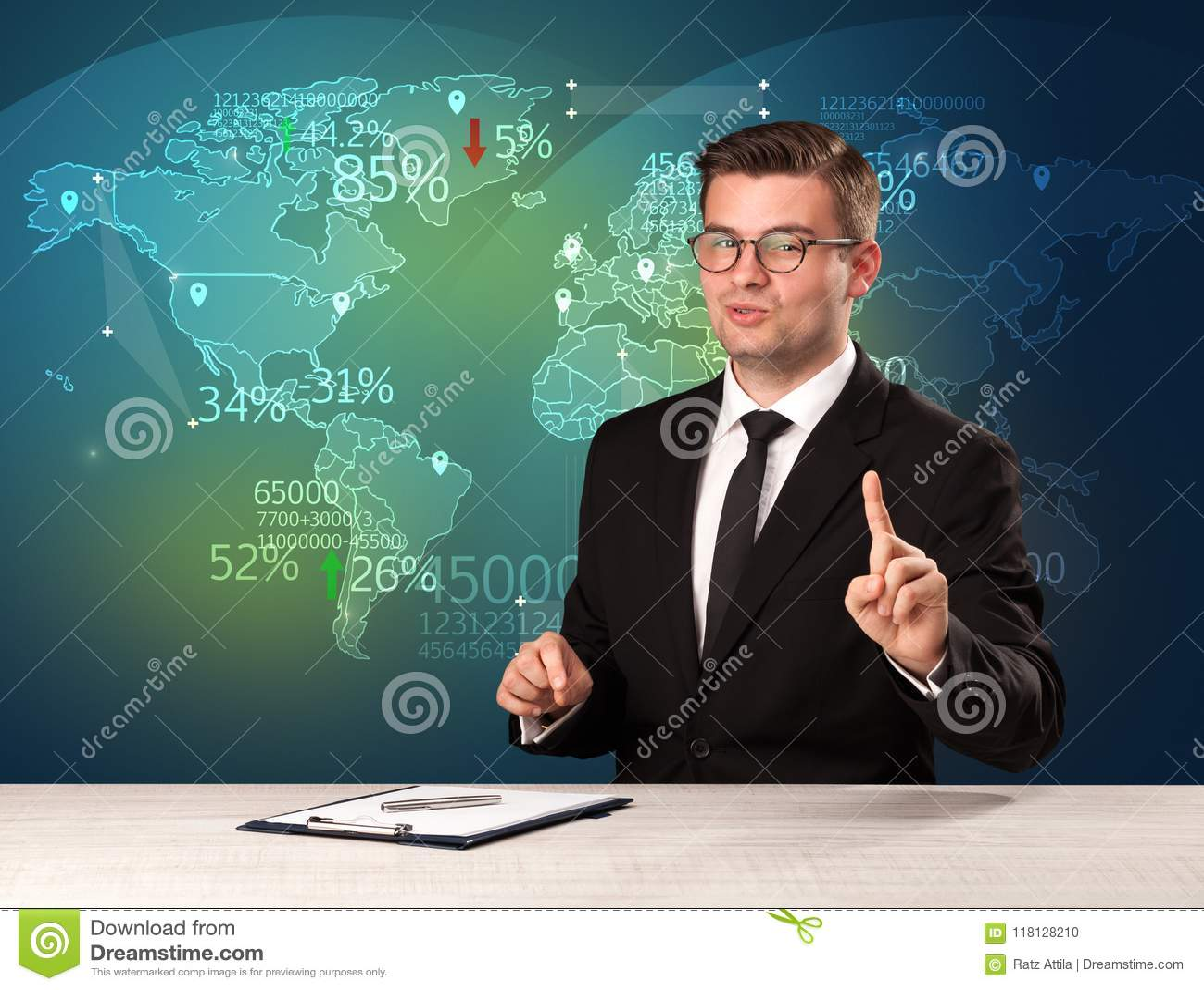 Handlowy targowy analityk jest pracownianego reportażu światowym handlarskim wiadomością z mapy pojęciem