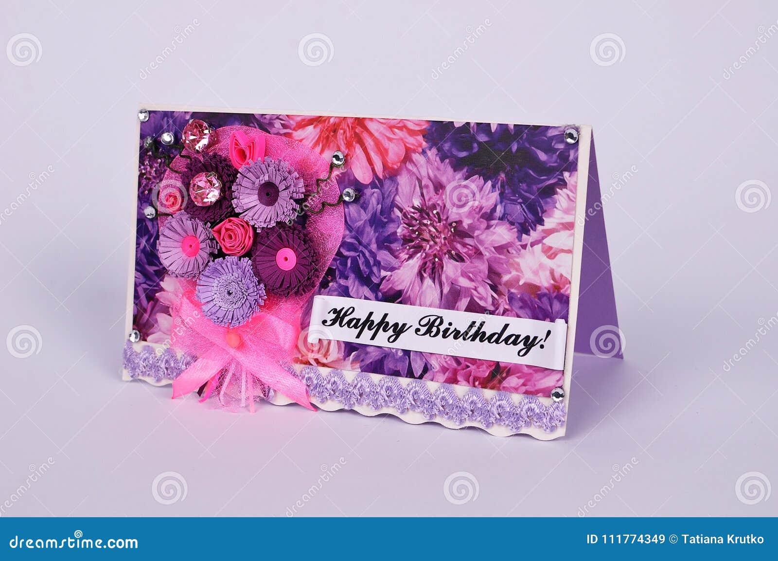 Handmade поздравительная открытка дня рождения в quilling методе