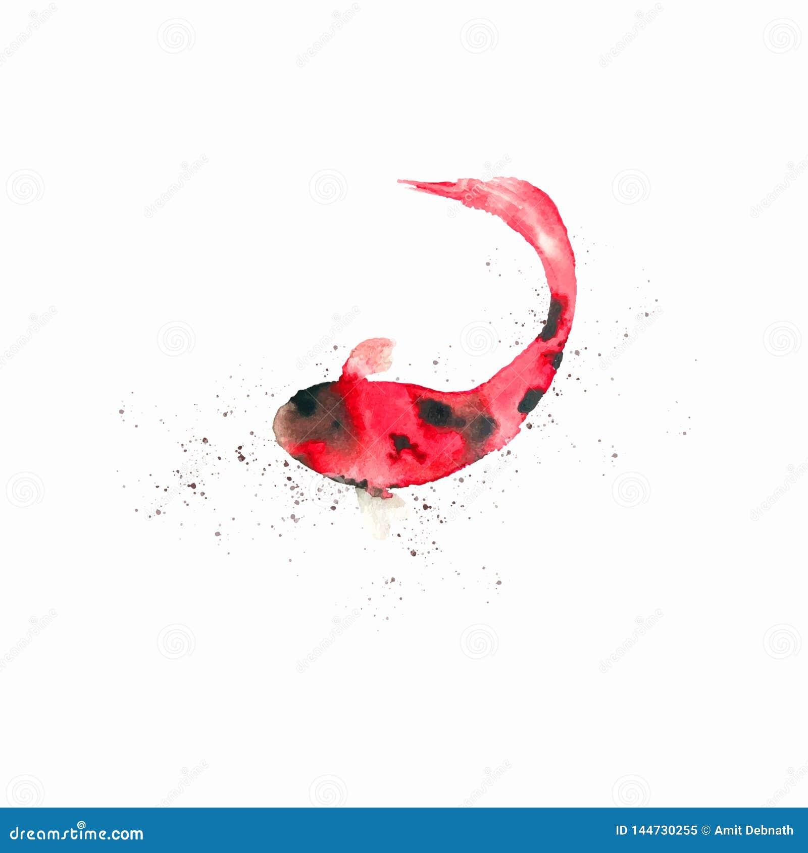 Handmade художественное произведение рыб вектора акварели Художественно