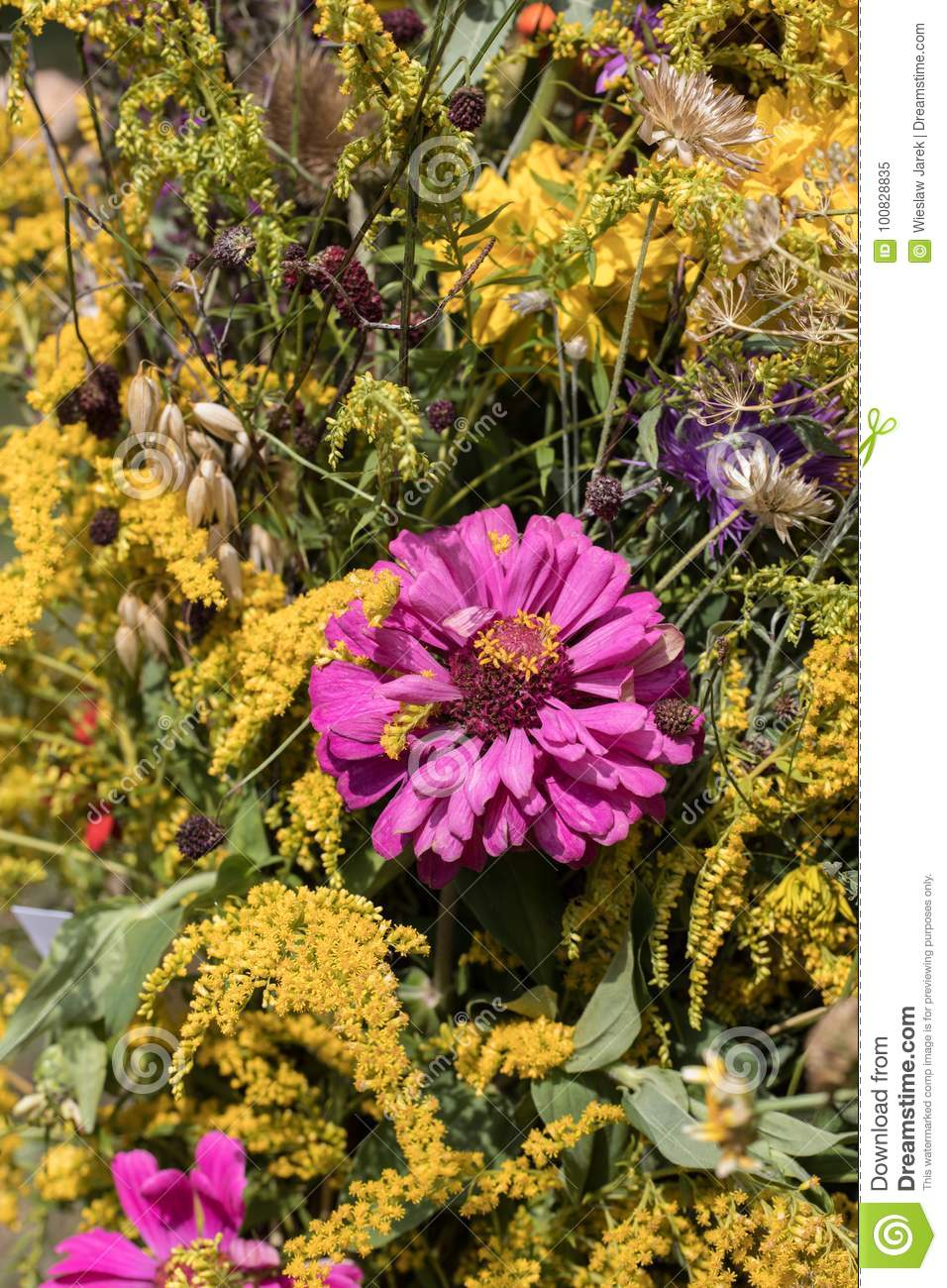 Beautiful Bouquets From Flowers And Herbs Stock Image - Image of ...