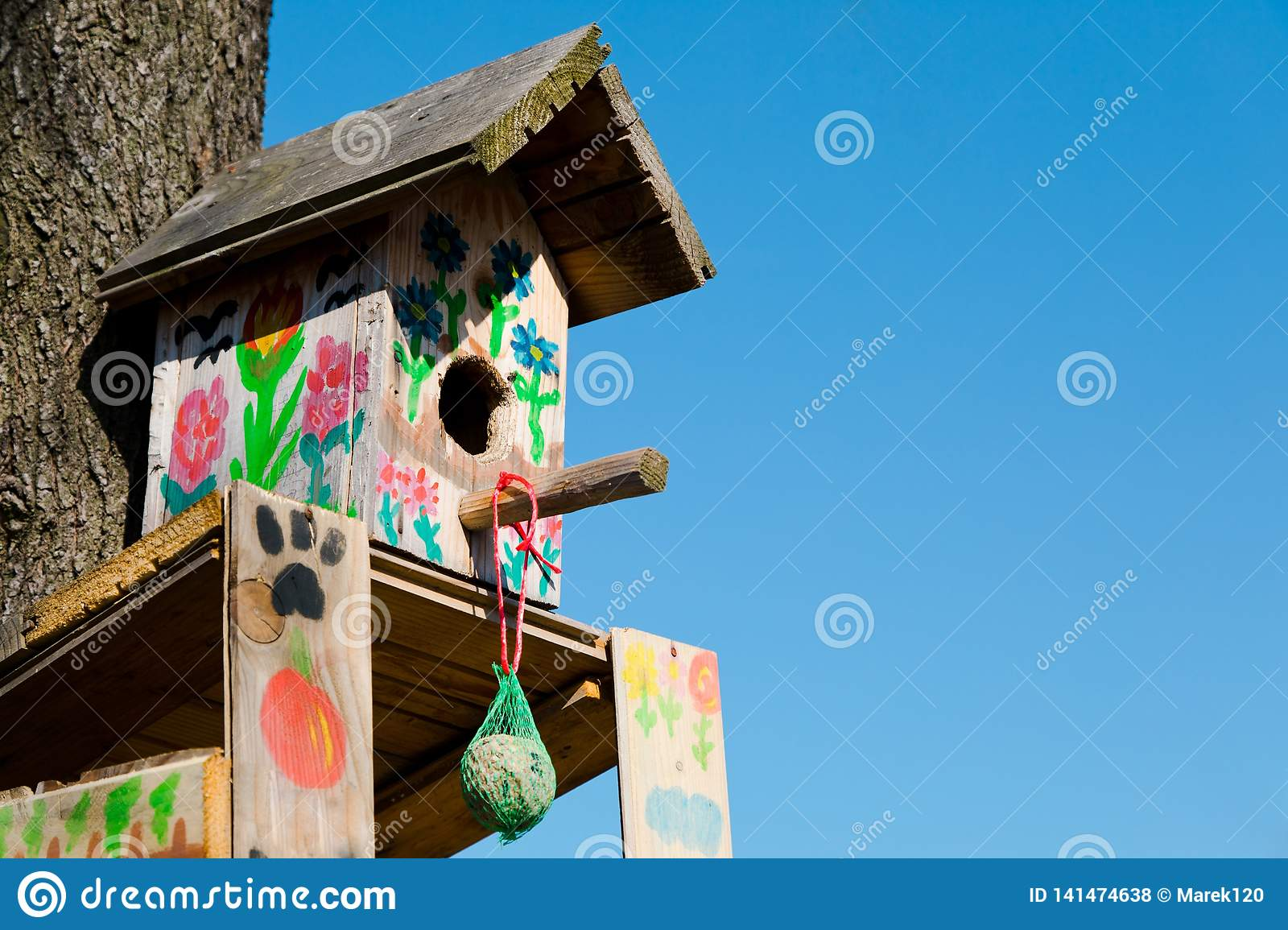 Handmade bird booth decorated - Place to feed birds during winte
