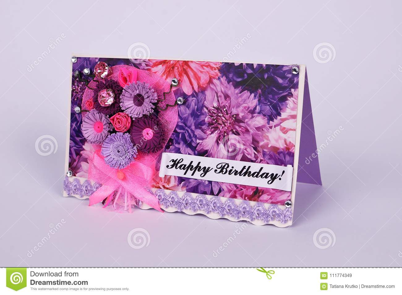 Handmade Birthday Greetings Card In Quilling Technique Stock