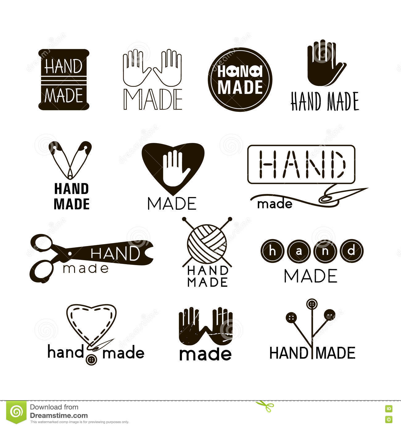 Handmade Black And Thin Line Icons On White. Stock Vector