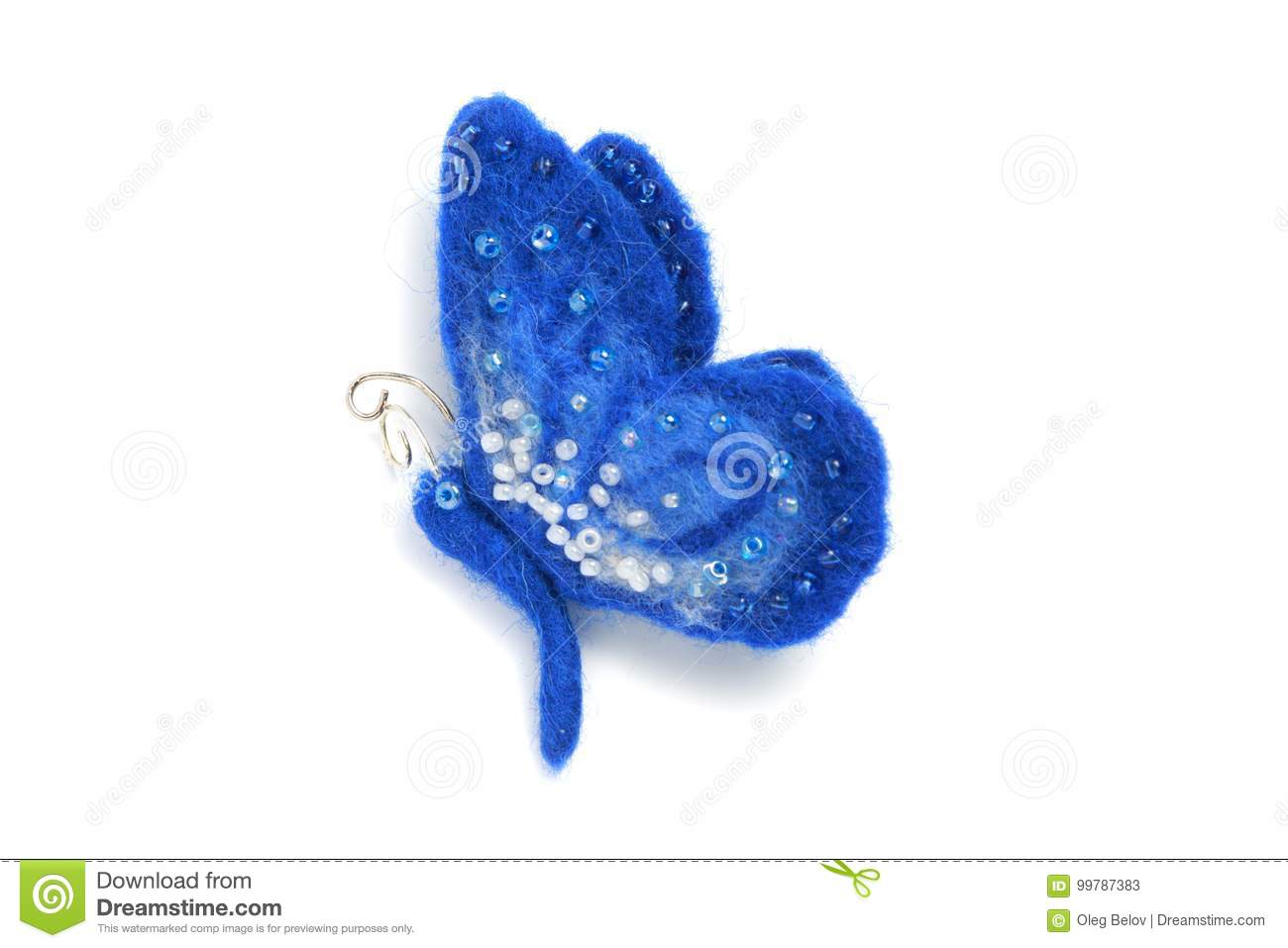 Handmade brooch from felt in the form of a blue butterfly, decorated with beads on a white background