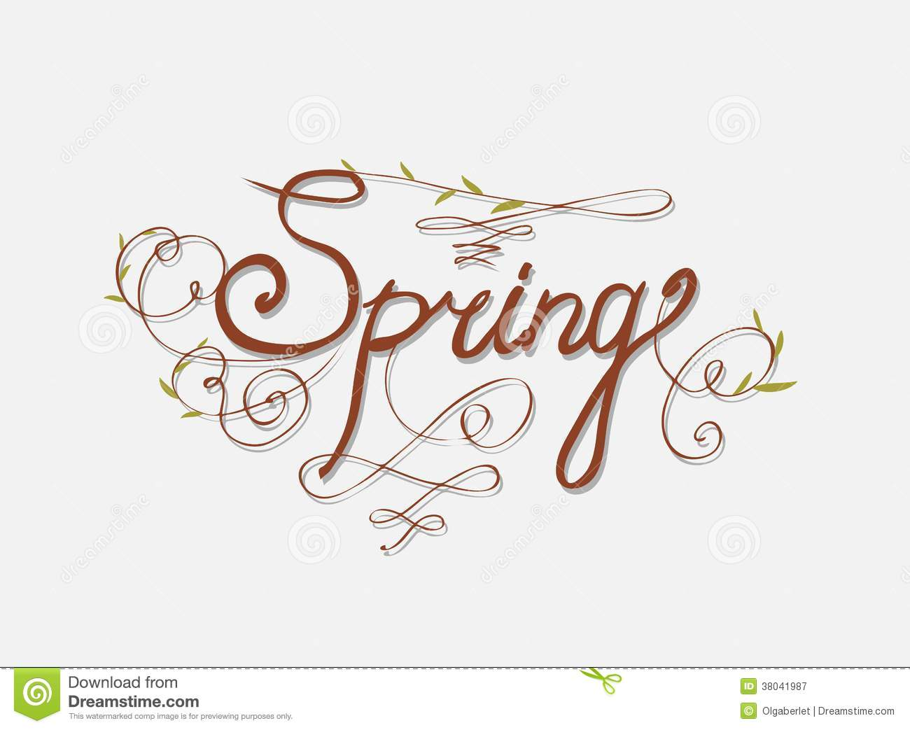 Handmade calligraphy spring stock image of classic