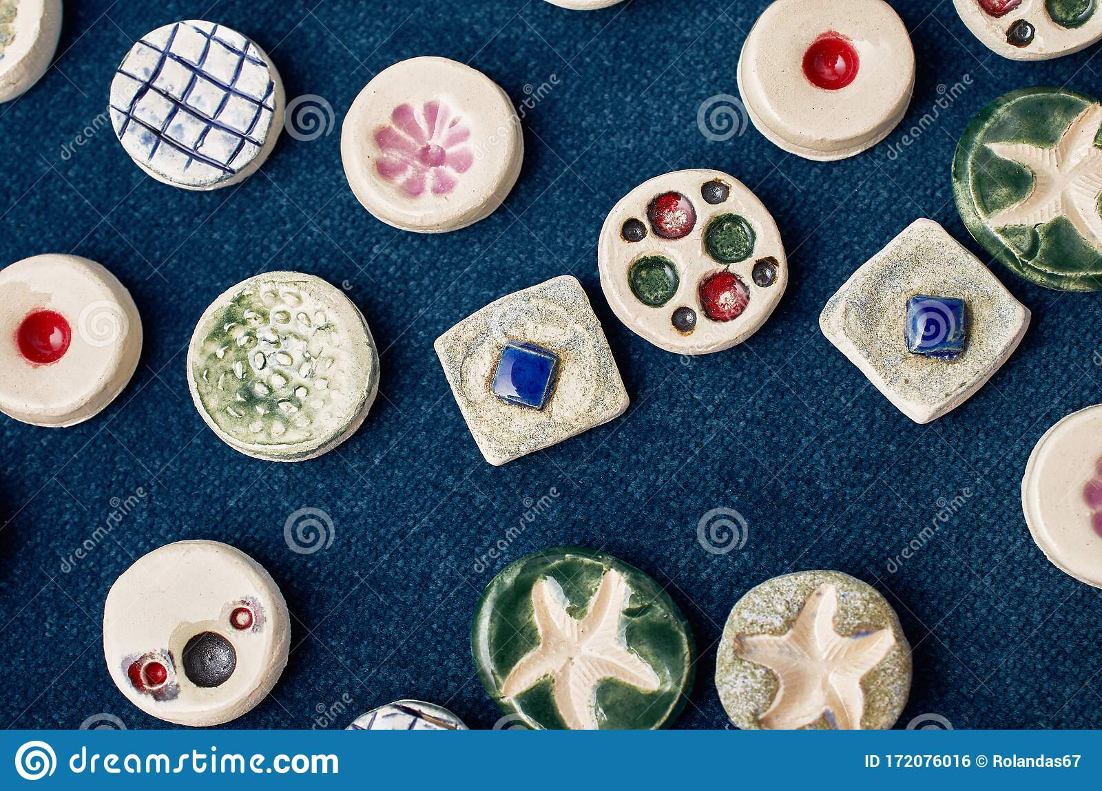 Handmade Ceramic Jewelry On A Blue Denim Surface Stock Photo Image Of Blue Colored 172076016