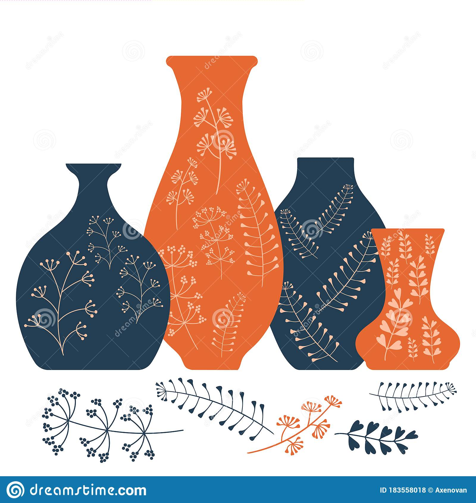 Handmade Ceramics Ceramic Vases And Pots With A Botanical Pattern Pottery Hobby Flat Vector Illustration Stock Illustration Illustration Of Earthenware Character 183558018