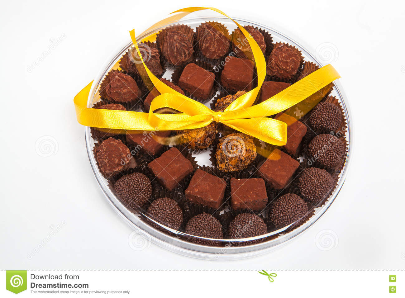 Handmade Chocolates In A Gift Box With Bow In Stock Image Image Of