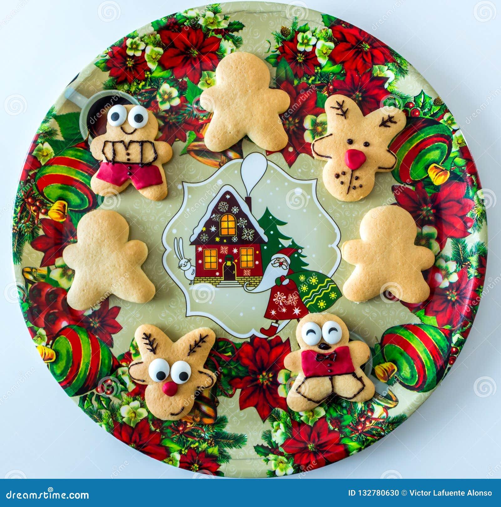 Handmade Christmas Cookies On Decorative Tray Stock Photo Image Of
