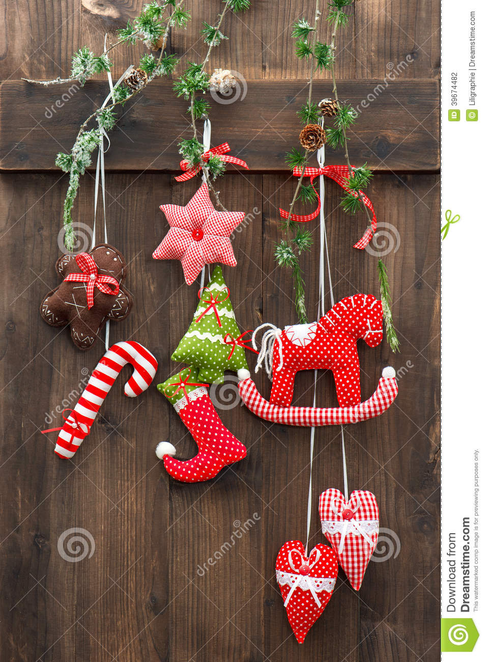Handmade christmas decoration over rustic wooden for Handmade decoration