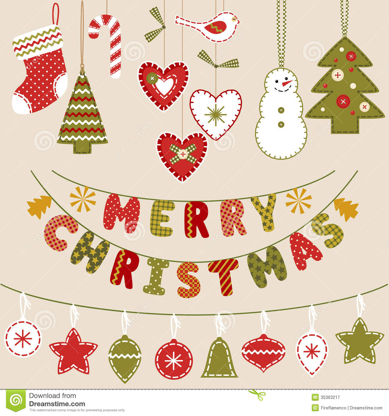 Handmade christmas decoration stock vector image 35363217 for Handmade things for decoration