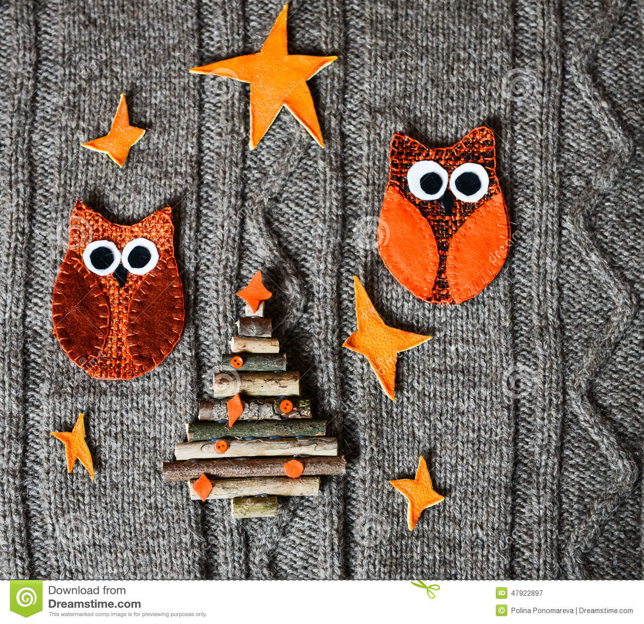 Handmade Christmas Decoration On Warm Knitted Background ...