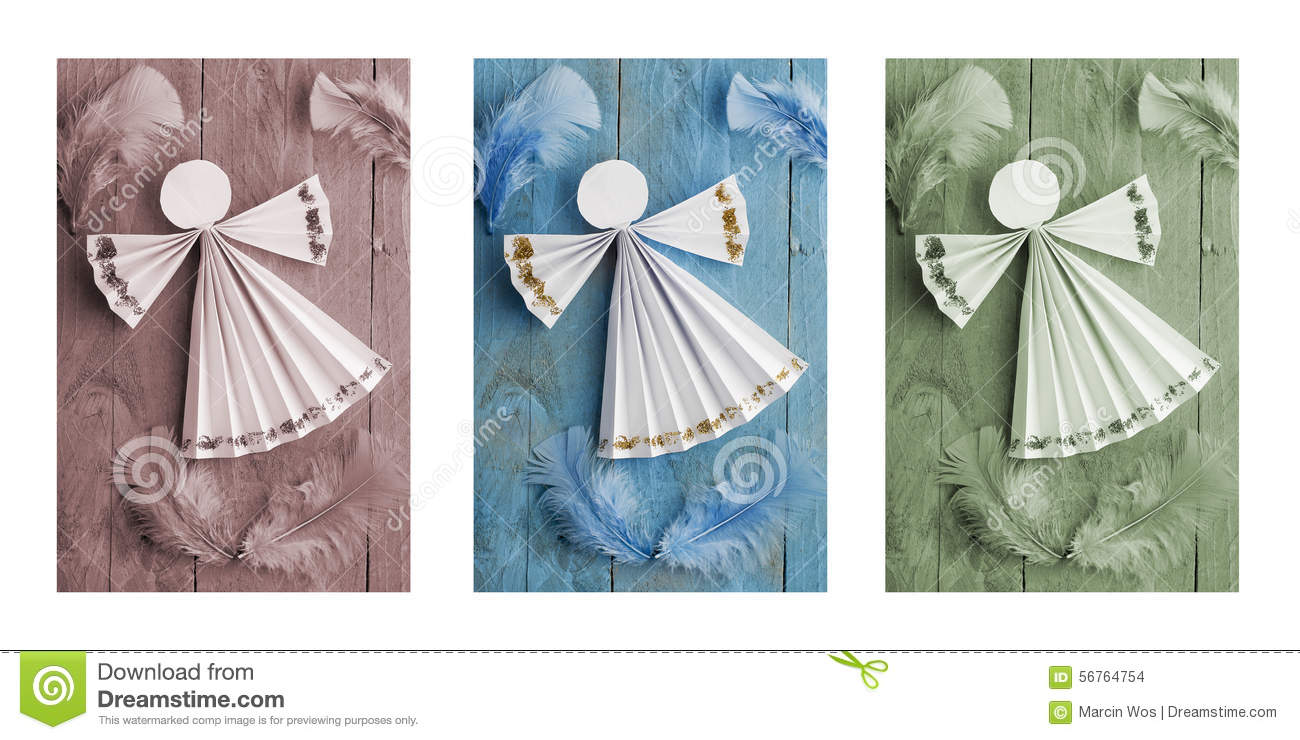 handmade christmas decorationspaper angel on wooden background triptych - Handmade Paper Christmas Decorations