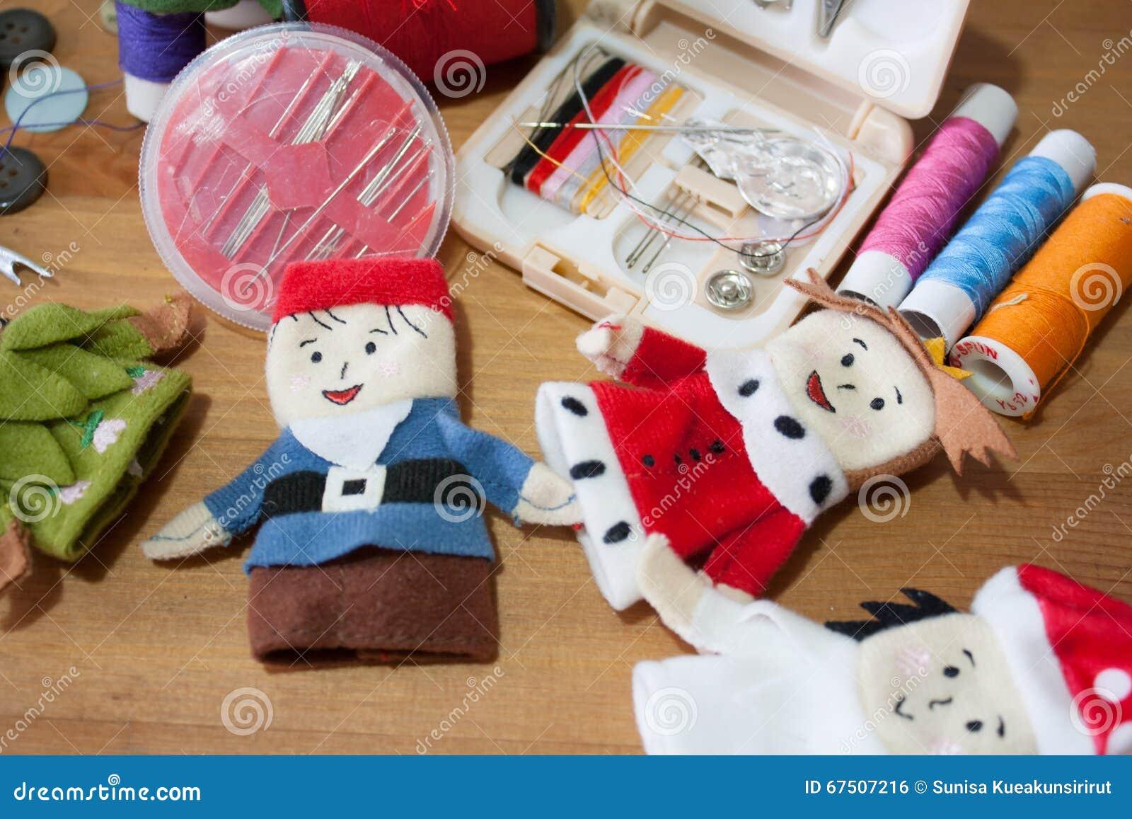 Handmade Christmas Doll Finger For Christmas Gift On Wood Backgr ...