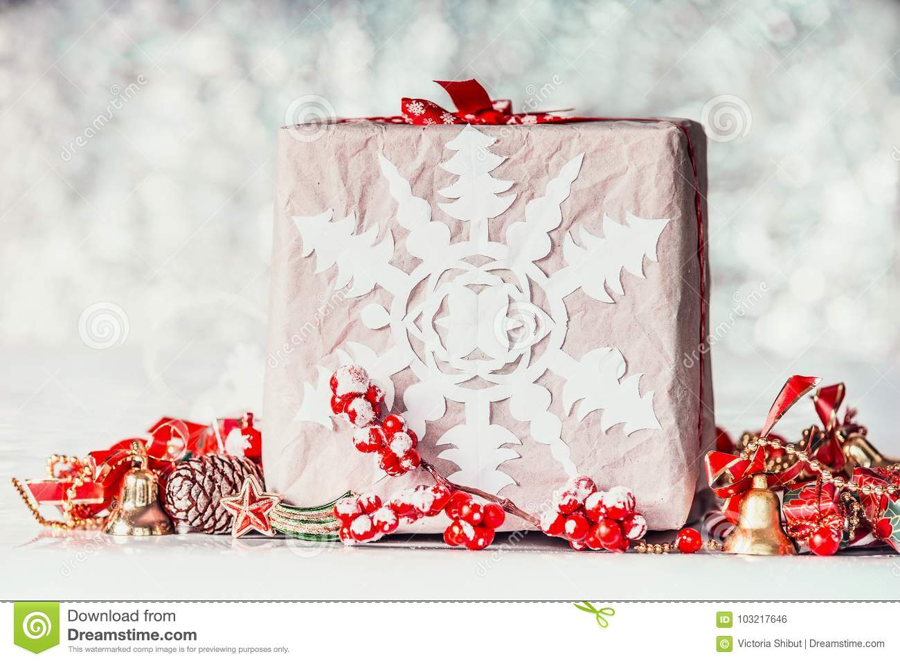 Handmade Christmas Gift Box With Paper Snowflakes And Red ...