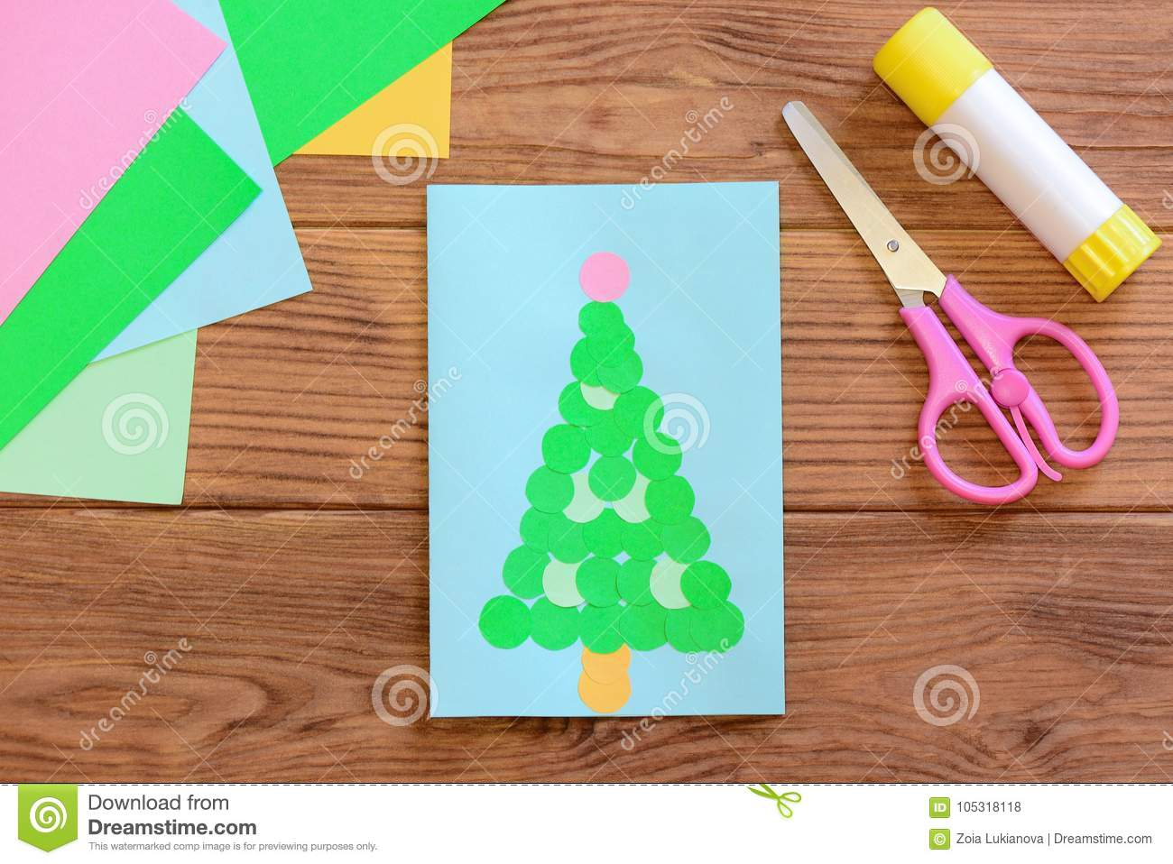 Cute Christmas Tree Card Christmas Greeting Card Colored Paper