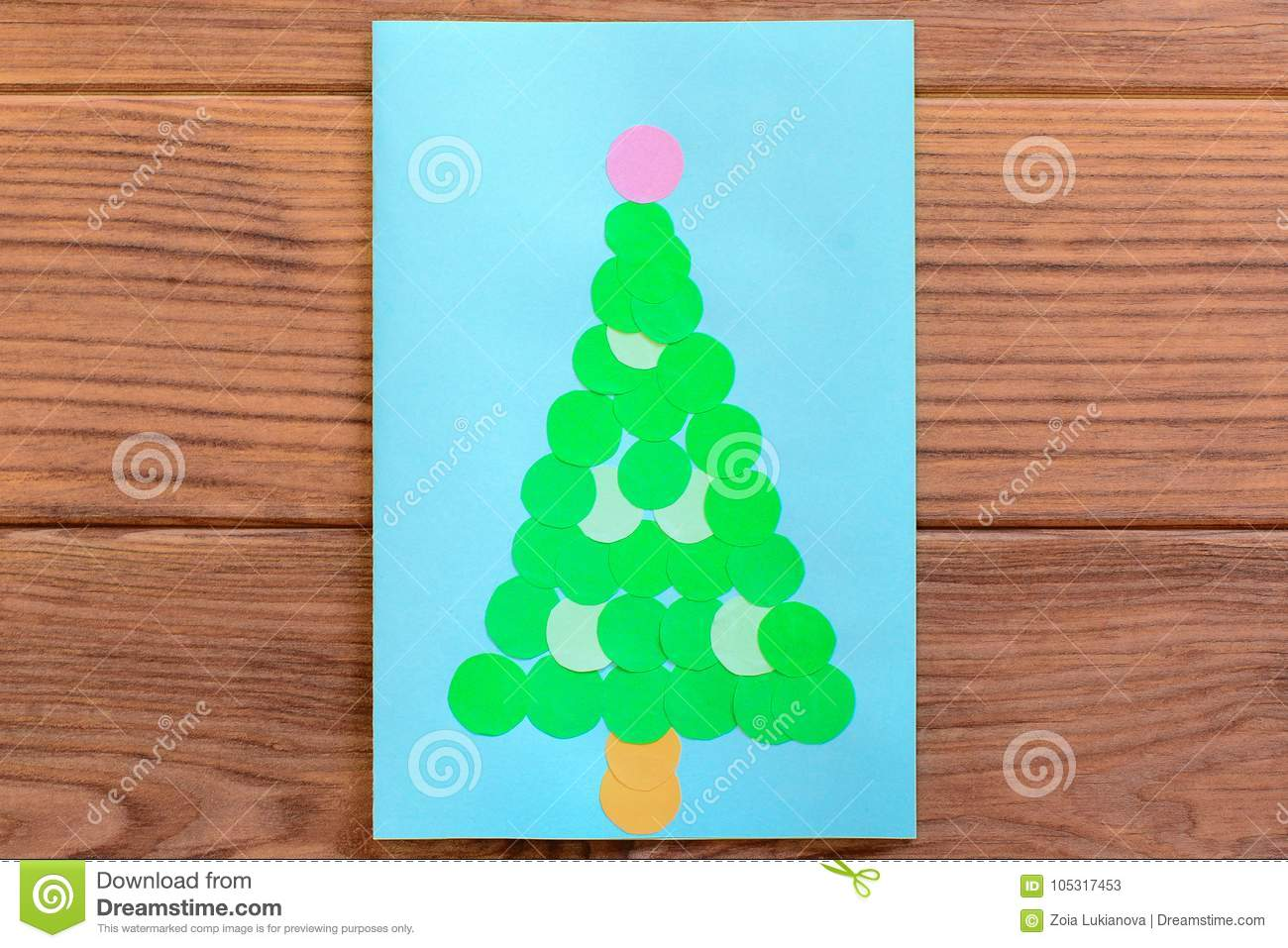 Christmas Tree Card. Christmas Greeting Card Isolated On A Wooden ...