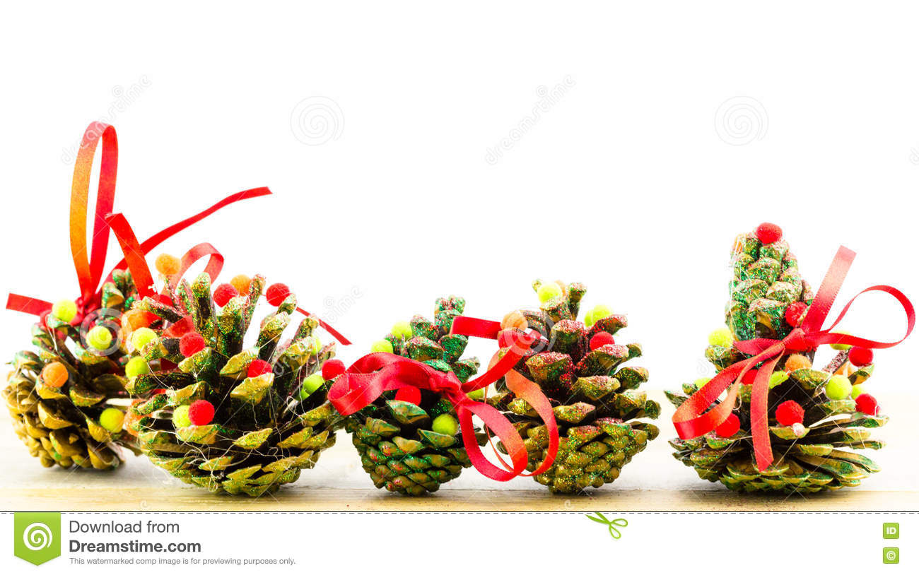 Handmade christmas ornaments as greeting background