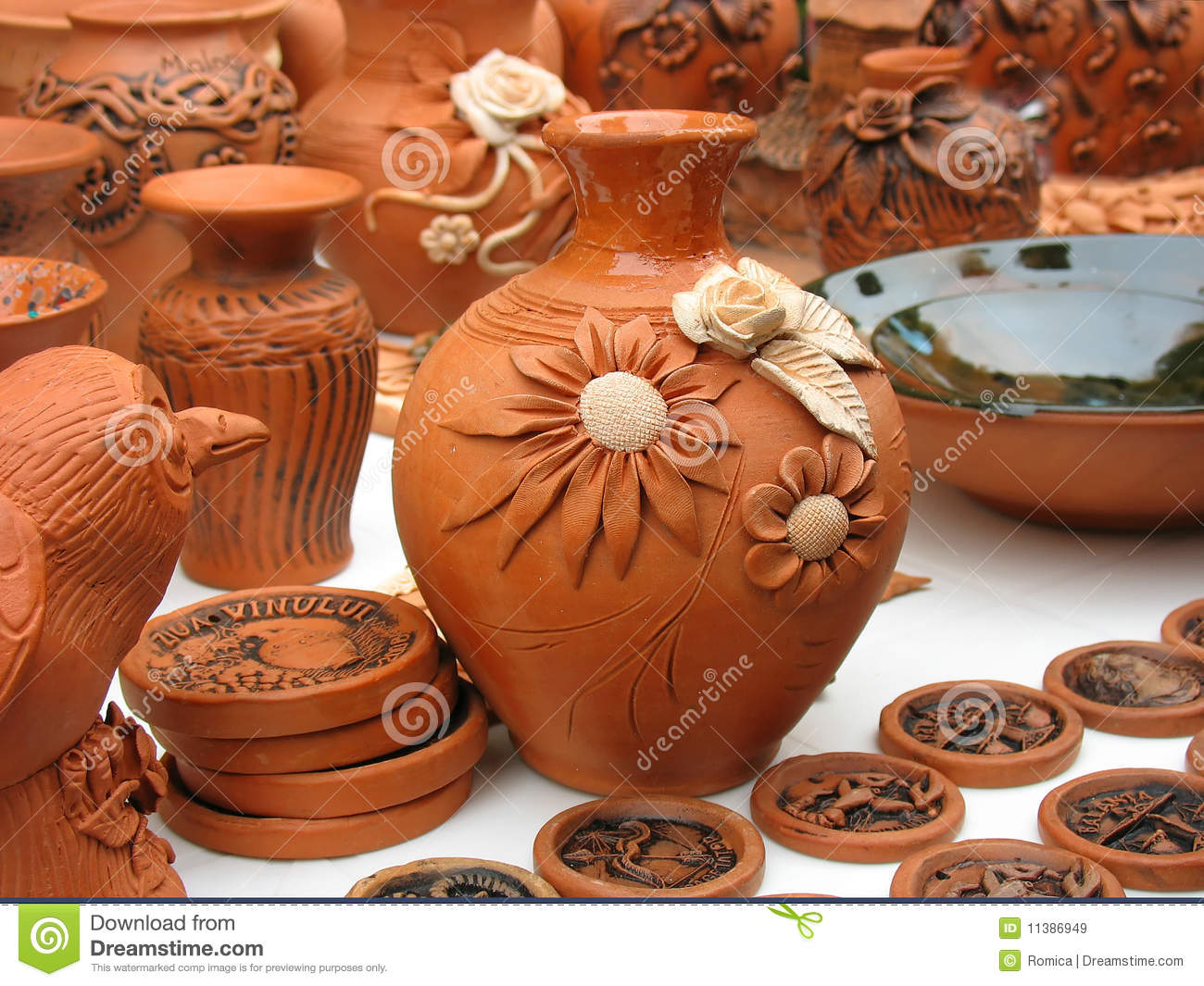 Handmade Clay Pots In A Workshop Stock Image - Image of dinner, clay:  11386949