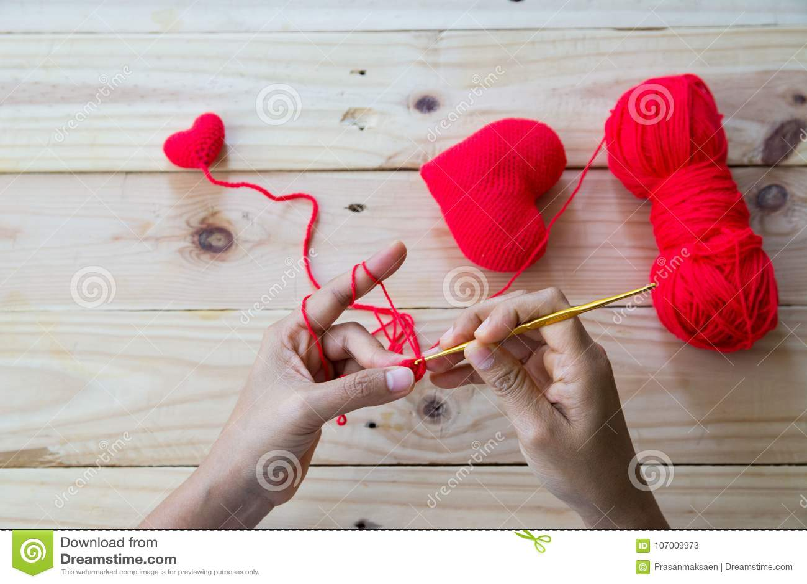 Handmade Crochet Red Heart Stock Image Image Of Handicrafts 107009973
