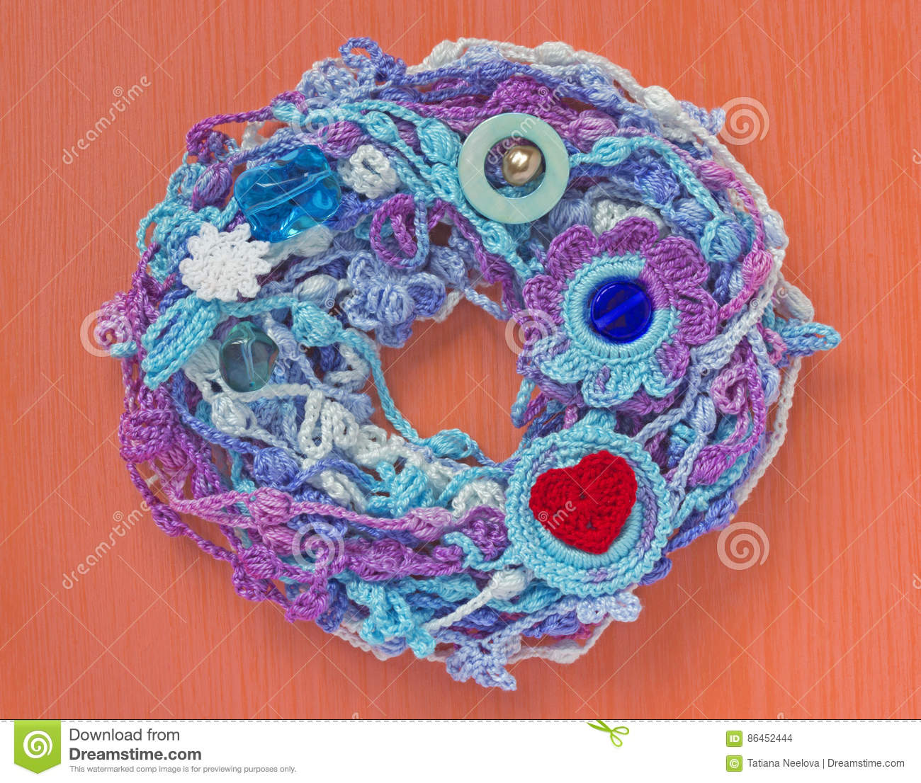 Handmade Crocheted Cotton Lace Wreath White Crochet Frame Knitted