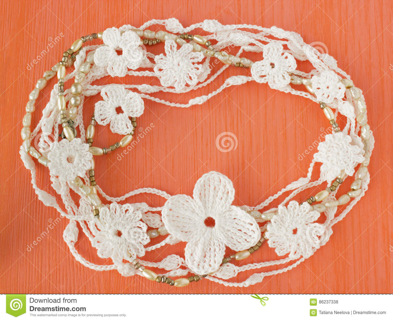 Handmade Crocheted Cotton Organic Lace Wreath. White Knitted Frame ...