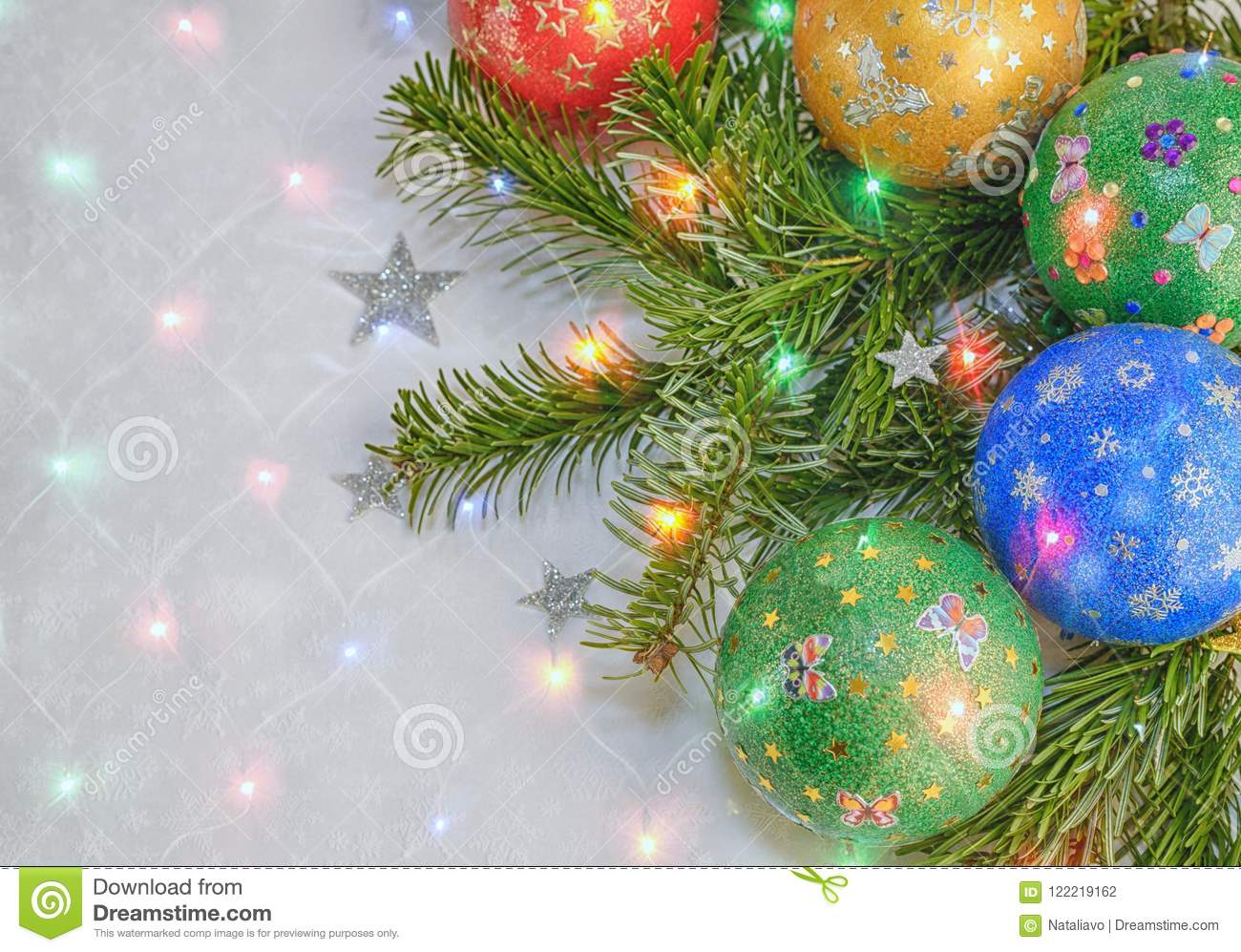 Handmade Decorated Balls On The Background Of Christmas Tree With ...