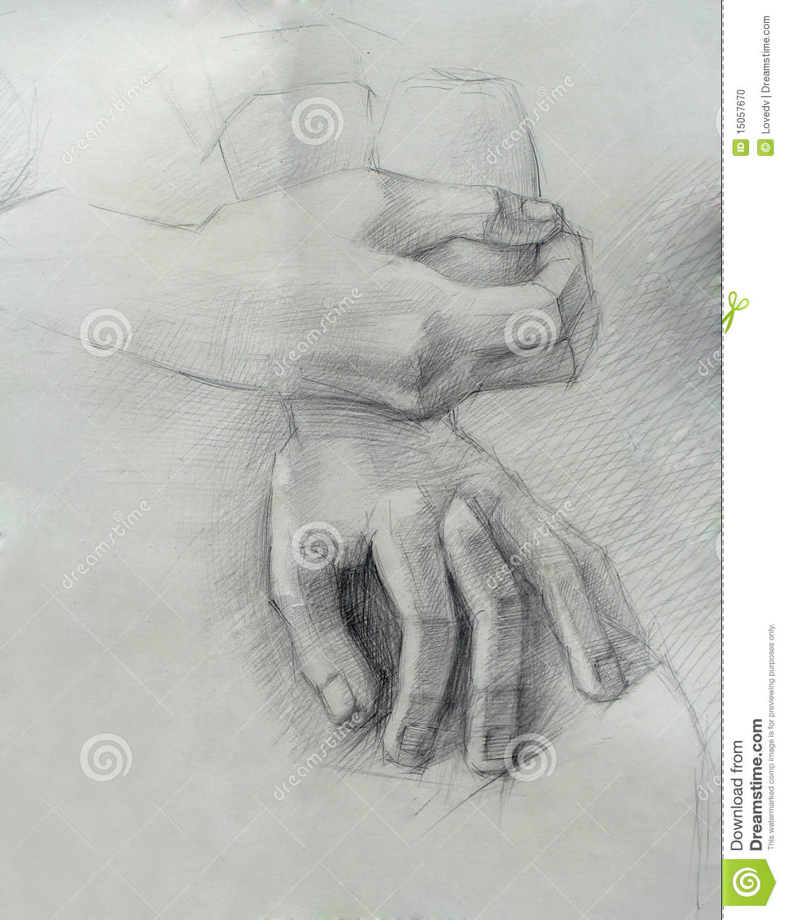 a handmade drawing of hands stock illustration