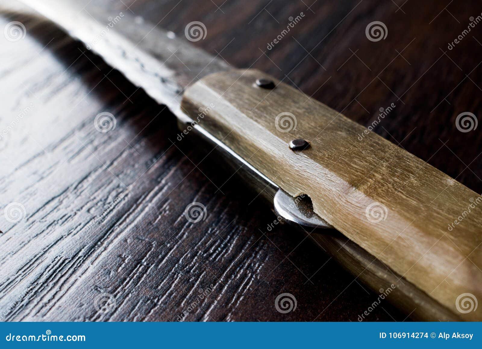 Handmade Drewniany Kieszeniowy nóż na zmrok powierzchni