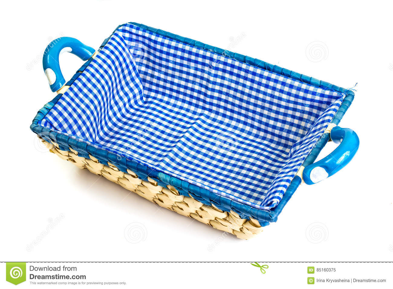 Handmade empty wicker basket with colored cloth on white background