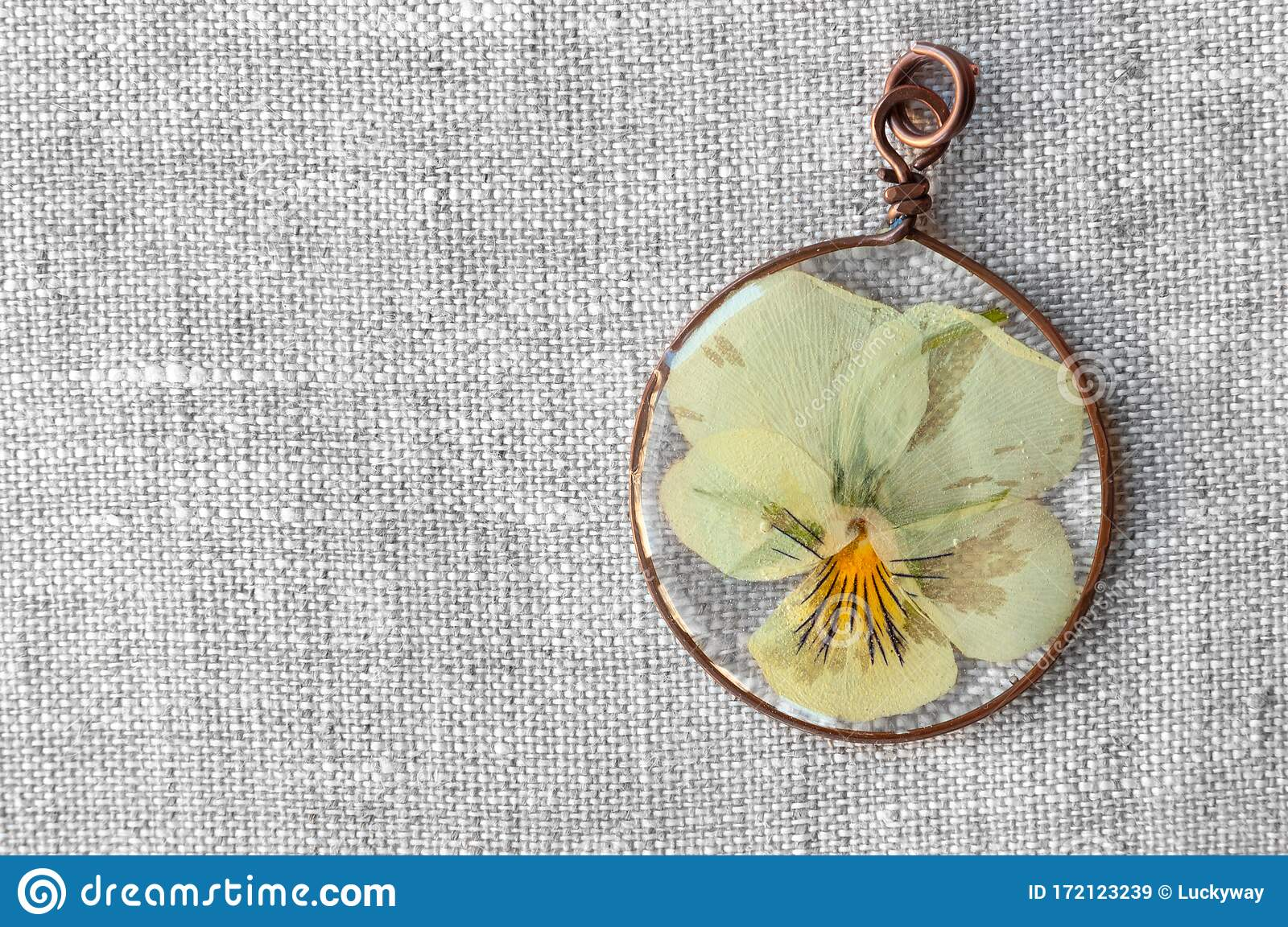Handmade Epoxy Resin Jewelry Pendant Violet Flower In Copper Frame Stock Image Image Of Crystal Elegance 172123239