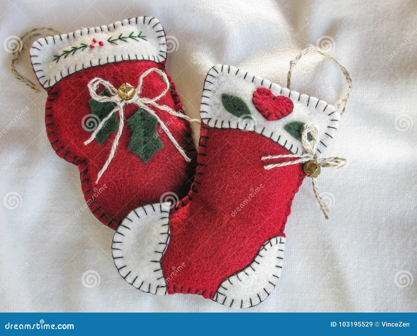 Handmade fabric christmas tree ornaments stock image image of