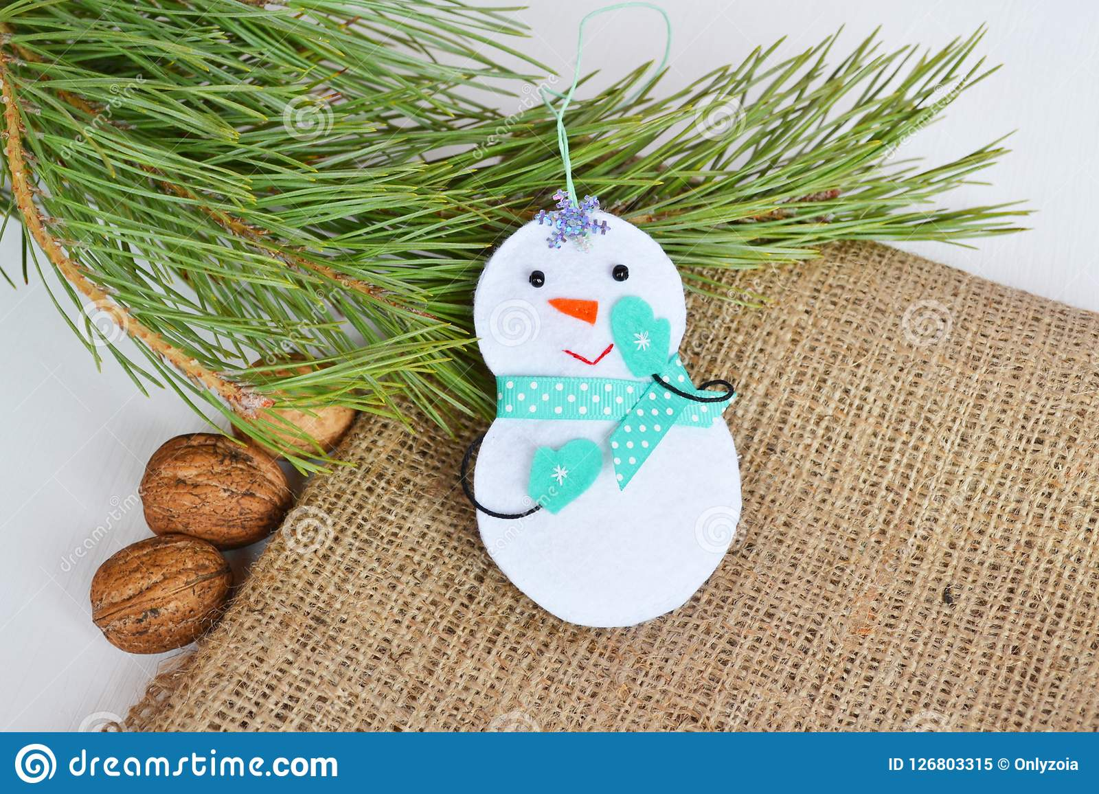 Handmade Felt Christmas Snowman Toy Felt Decoration Stock Image
