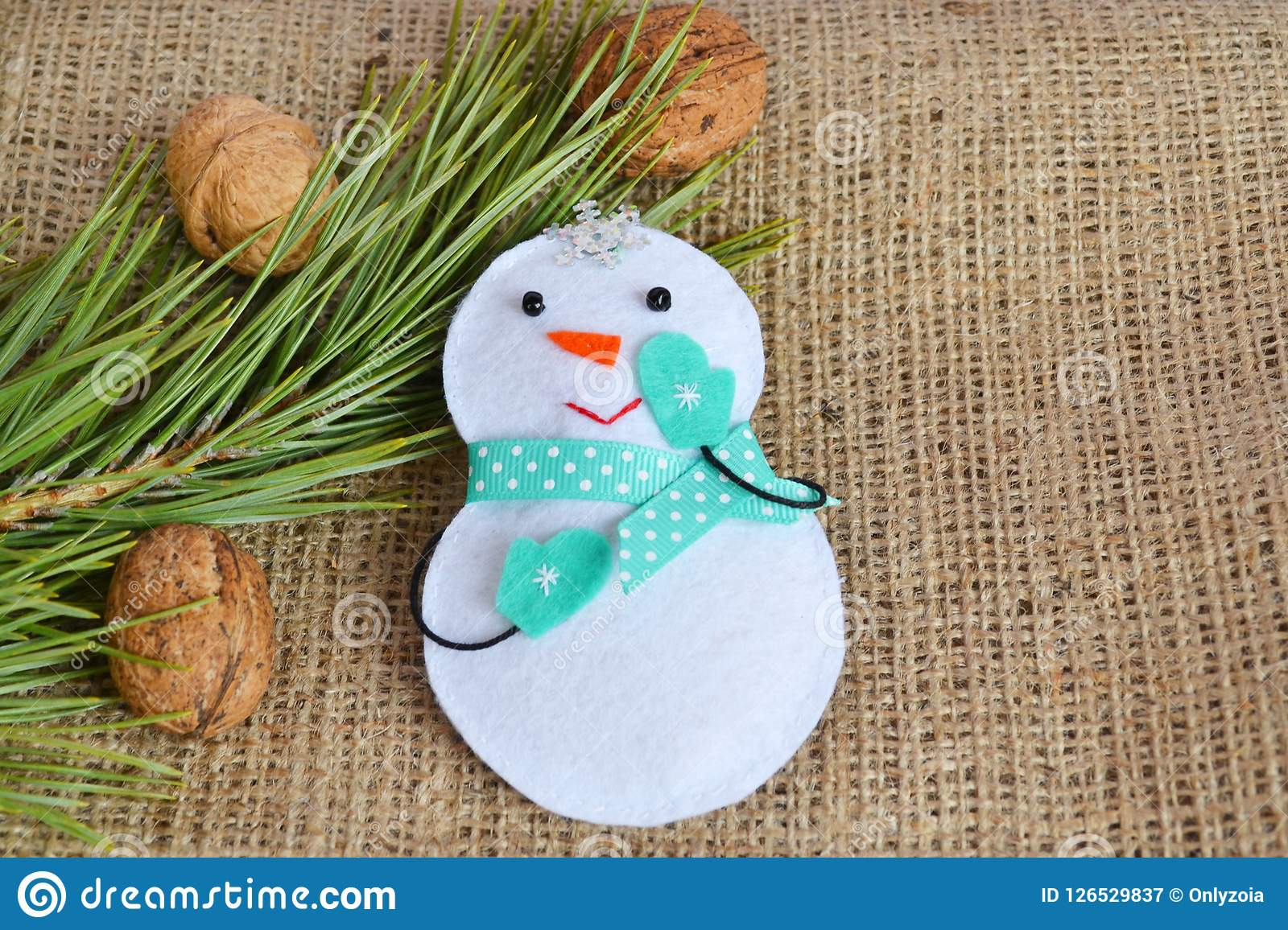 Handmade Felt Christmas Snowman Toy Kids Craft Stock Image Image